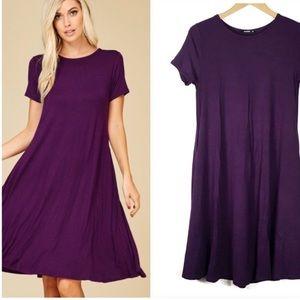 Dresses & Skirts - Purple Short Sleeve A-Line Midi Dress w/Pockets